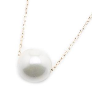 アコヤ真珠 ネックレス パールネックレス K18 ピンクゴールド 8mm 8ミリ珠 40cm 長さ調節可能(アジャスター付き) あこや真珠 ペンダント パール 本真珠 - 拡大画像