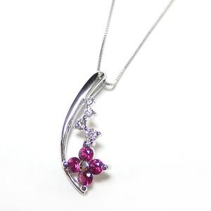 ダイヤモンド ルビー ネックレス K18 ホワイトゴールド ダイヤ0.08ct ルビー0.31ct 花 フラワー ペンダント 限定1点限り - 拡大画像