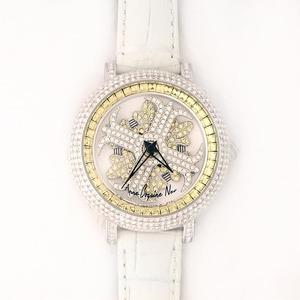 アンコキーヌ ネオ 40mm バイカラー ミニクロス シルバーベゼル インナーベゼルイエロー ホワイトベルト アルバ 正規品(腕時計・グルグル時計)