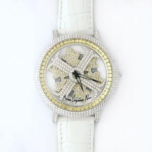 アンコキーヌ ネオ 45mm バイカラー ミニクロス シルバーベゼル インナーベゼルイエロー ホワイトベルト アルバ 正規品(腕時計・グルグル時計)