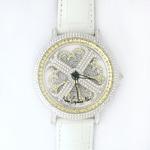 アンコキーヌ ネオ 45mm バイカラー ミニクロス シルバーベゼル インナーベゼルイエロー ホワイトベルト イール 正規品(腕時計・グルグル時計)