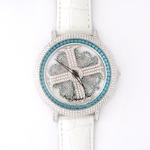 アンコキーヌ ネオ 45mm バイカラー ミニクロス シルバーベゼル インナーベゼルブルー ホワイトベルト イール 正規品(腕時