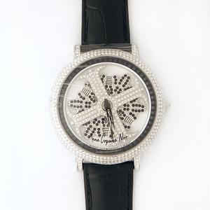 アンコキーヌ ネオ 45mm バイカラー ミニクロス シルバーベゼル インナーベゼルブラック ブラックベルト アルバ 正規品(腕時計・グルグル時計) - 拡大画像