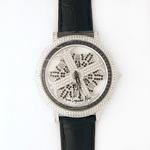アンコキーヌ ネオ 45mm バイカラー ミニクロス シルバーベゼル インナーベゼルブラック ブラックベルト アルバ 正規品(腕時計・グルグル時計)
