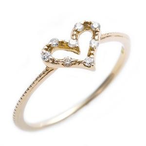 ダイヤモンド ピンキーリング K10 イエローゴールド ダイヤモンドリング 0.05ct 2号 アンティーク調 ハートモチーフ プリンセス 指輪 - 拡大画像