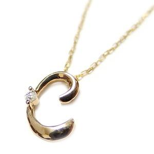 イニシャル ネックレス ダイヤモンド ネックレス 一粒 0.01ct K18 ゴールド 文字 C ダイヤネックレス ペンダント - 拡大画像