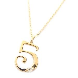 ナンバー ネックレス ダイヤモンド ネックレス 一粒 0.01ct K18 ゴールド 数字 5 ダイヤネックレス ペンダント - 拡大画像