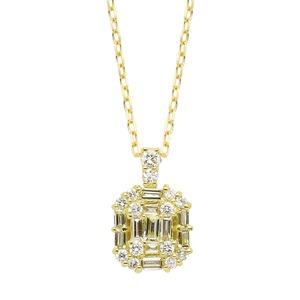 ダイヤモンド ネックレス K18 イエローゴールド 0.3ct バケット ダイヤネックレス ペンダント - 拡大画像