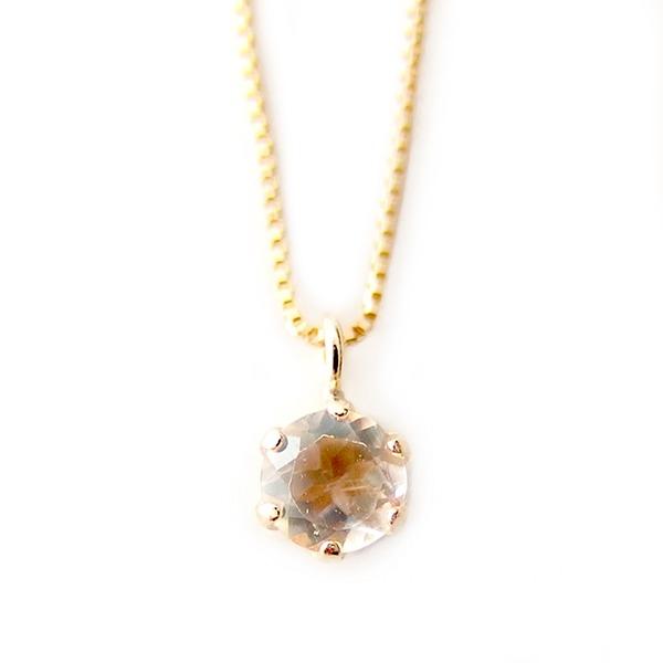 ネックレス ブルームーンストーン K18 イエローゴールド 6月 誕生石 一粒 シンプル プチネックレス ペンダント