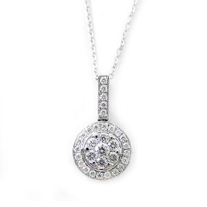 ダイヤモンド ネックレス K18 ホワイトゴールド 0.23ct 7ダイヤ コロネットセッティング Hカラー SIクラス バケットダイヤ 0.23カラット ペンダント - 拡大画像
