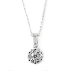 ダイヤモンド ネックレス K18 ホワイトゴールド 0.4ct 7ダイヤ コロネットセッティング Hカラー SIクラス バケットダイヤ 0.4カラット ペンダント - 拡大画像