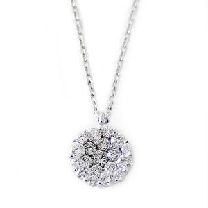 ダイヤモンド ネックレス K18 ホワイトゴールド 0.72ct ダイヤネックレス 0.72カラット サークル ペンダント 限定1点限り - 拡大画像
