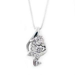 ダイヤモンド ネックレス K18 ホワイトゴールド 0.3ct ダイヤネックレス 45cmスライド調整付きチェーン 0.3カラット ペンダント 限定1点限り - 拡大画像