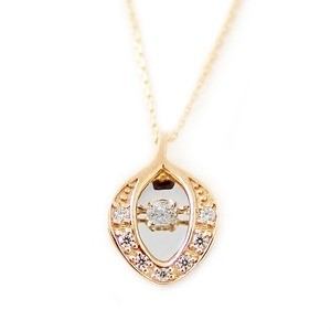 ダイヤモンド ネックレス K10 イエローゴールド 0.1ct ダンシングストーン ハート&キューピッド H&C Hカラー SIクラス 揺れるダイヤが輝きを増す 揺れる ダイヤ ペンダント 限定1点限り - 拡大画像