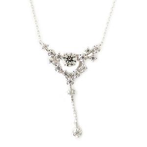 ダイヤモンド ネックレス K18 ホワイトゴールド 0.3ct ダンシングストーン ハート&キューピッド H&C Hカラー SIクラス ゴージャス 揺れるダイヤが輝きを増す 揺れる ダイヤ ペンダント 限定1点限り - 拡大画像