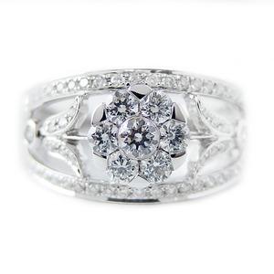 ダイヤモンド リング K18 ホワイトゴールド 0.7ct 7ダイヤ コロネットセッティング Hカラー SIクラス ダイヤリング 0.7カラット 12号 指輪 花 フラワー ゴージャス 限定1点限り - 拡大画像