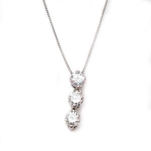 ダイヤモンド ネックレス プラチナ Pt900 0.3ct ダイヤ3石 スリーポイントダイヤ ペンダント  - 拡大画像