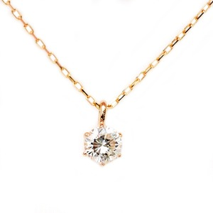 ダイヤモンド ネックレス K18 ピンクゴールド 0.1ct 一粒 6本爪 シンプル ダイヤネックレス ペンダント  - 拡大画像