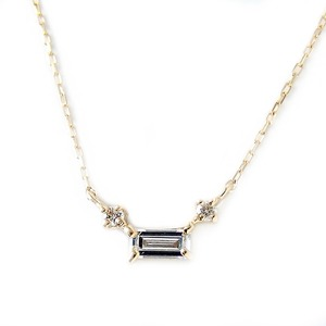 ダイヤモンド ネックレス K18 イエローゴールド 0.14ct 一粒 スクエア バケットダイヤ ダイヤネックレス ペンダント  - 拡大画像