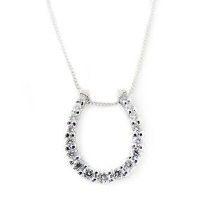ダイヤモンド ネックレス K18 ホワイトゴールド 0.2ct ダイヤネックレス 馬蹄 ペンダント  - 拡大画像