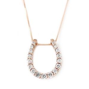 ダイヤモンド ネックレス K18 ピンクゴールド 0.2ct ダイヤネックレス 馬蹄 ペンダント  - 拡大画像