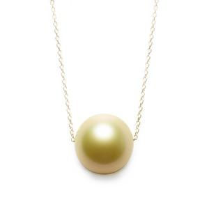 ゴールド パール ネックレス K18 イエローゴールド 奄美大島産 白蝶貝 11mm パールネックレス 真珠 ペンダント - 拡大画像