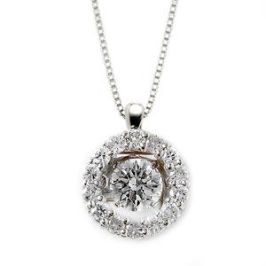 ダイヤモンド ネックレス プラチナ Pt900 0.5ct 揺れる ダイヤ ダンシングストーン ダイヤネックレス サークル ペンダント - 拡大画像
