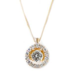 ダイヤモンド ネックレス K18 イエローゴールド 0.5ct 揺れる ダイヤ ダンシングストーン ダイヤネックレス サークル ペンダント - 拡大画像