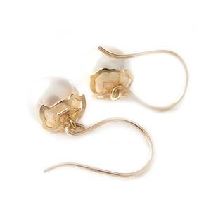 ピアス アコヤ真珠 パール K18 イエローゴールド 約6-6.5mm 透かし模様 パールピアス あこや真珠 ピアス パール 真珠