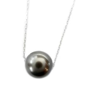 タヒチ真珠 パール ネックレス K18 イエローゴールド 8mm 8ミリ珠 真珠 シンプル ペンダント - 拡大画像