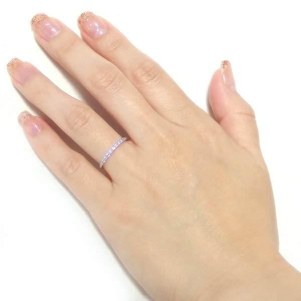 ダイヤモンド リング ハーフエタニティ 0.15ct 15号 プラチナ Pt950 0.15カラット シンプル 細身 エタニティリング 指輪 鑑別カード付き