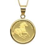 コイン ネックレス K24 エリザベス ホース 馬 1/25oz 純金 ツバルコイン リバーシブル 地金 ネックレス K18 イエローゴールド ペンダント シンプル