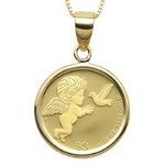 コイン ネックレス K24 エリザベス エンジェル 天使 1/25oz 純金 ツバルコイン リバーシブル 地金 ネックレス K18 イエローゴールド ペンダント シンプル
