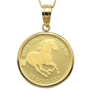 コイン ネックレス K24 エリザベス ホース 馬 1/10oz 純金 ツバルコイン リバーシブル 地金 ネックレス K18 イエローゴールド ペンダント シンプル - 拡大画像