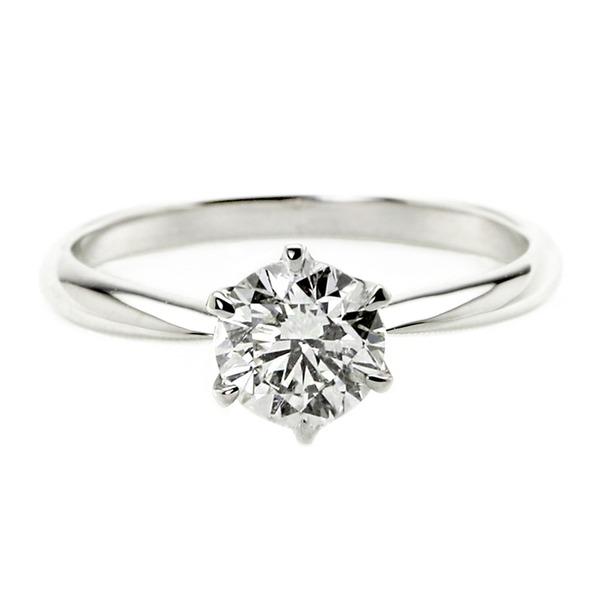 ダイヤモンド リング 一粒 1カラット 14号 プラチナPt900 Hカラー SI2クラス Good ダイヤリング 指輪 大粒 1ct 鑑定書付き