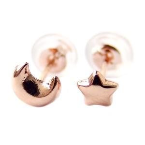 ピアス 地金 K18 ピンクゴールド ムーン&スター スタッド シンプル 上品 シリコン製ダブルロックキャッチ - 拡大画像