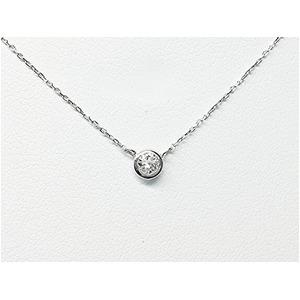 プラチナPt900  ダイヤモンドペンダント/ネックレス 一粒0.15ctUP フクリンタイプ - 拡大画像