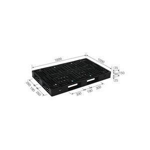 三甲(サンコー) プラスチックパレット/リサイクルパレット 【片面使用型】 D4-1016(PP) ブラック(黒)