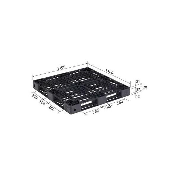 三甲(サンコー) プラスチックパレット/リサイクルパレット 【片面使用型】 D4-1111-14 ブラック(黒)