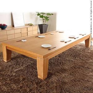 モダンリビングこたつ 【ディレット】 210×100cm こたつ テーブル 長方形 日本製 国産継ぎ脚ローテーブル ナチュラル  - 拡大画像