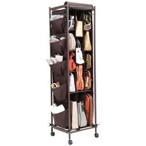 バッグ収納ラック ペラン 3連 バッグ かばん 収納 キャスター付き収納棚 ブラウン  - 拡大画像