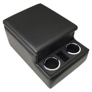 トラック用コンソールボックス 黒 レザー風 アームレスト 日本製 収納 肘掛け BOX ドリンクホルダー Azur - 拡大画像