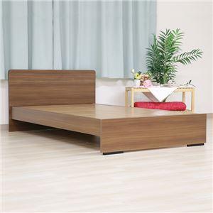 ベッド 日本製 工具 不要 組立 簡単 省スペース ベッド下 収納 シンプル モダン フラット 木製 パネル デザイン ブラウン ダブル ベッドフレームのみ - 拡大画像