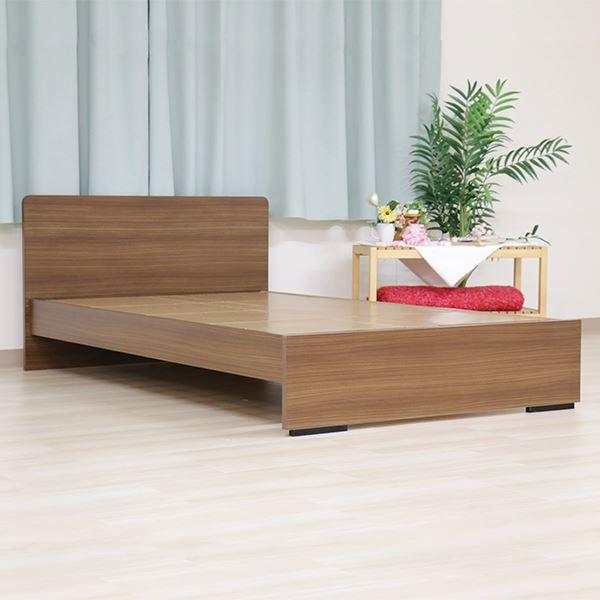 ベッド 日本製 工具 不要 組立 簡単 省スペース ベッド下 収納 シンプル モダン フラット 木製 パネル デザイン ブラウン ダブル ベッドフレームのみ