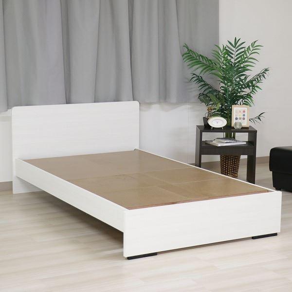 ベッド 日本製 工具 不要 組立 簡単 省スペース ベッド下 収納 シンプル モダン フラット 木製 パネル デザイン ホワイト セミダブル ベッドフレームのみ