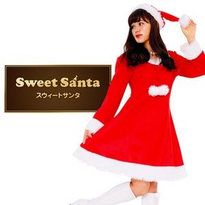 サンタ コスプレ レディース 【Peach×Peach  スイートサンタクロース ワンピース】 サンタ 衣装   - 拡大画像