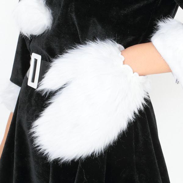 サンタ コスプレ 黒 ブラック レディース <帽子&ベルト&手袋セット> まとめ買い 【Peach×Peach  ラブリーサンタクロース ブラック(黒) ワンピース Mサイズ (×5着セット) 】 クリスマスコスプレ サンタクロース衣装