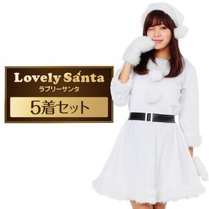 サンタ コスプレ 白 ホワイト レディース <帽子&ベルト&手袋セット> まとめ買い 【Peach×Peach  ラブリーサンタクロース ホワイト(白) ワンピース Mサイズ(×5着セット) 】 クリスマスコスプレ サンタクロース衣装 - 拡大画像