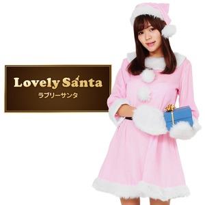 サンタ コスプレ ピンク レディース <帽子&ベルト&手袋セット> 【Peach×Peach ラブリーサンタクロース ピンク ワンピース Mサイズ】 クリスマスコスプレ サンタクロース衣装  - 拡大画像