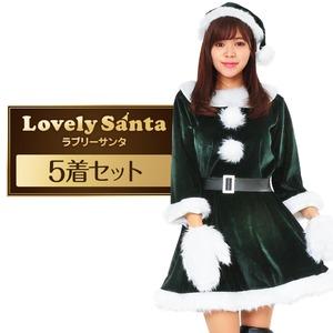 サンタ コスプレ 緑 グリーン レディース <帽子&ベルト&手袋セット> まとめ買い 【Peach×Peach ラブリーサンタクロース ダークグリーン(緑) ワンピース Mサイズ (×5着セット) 】 クリスマスコスプレ サンタクロース衣装 - 拡大画像